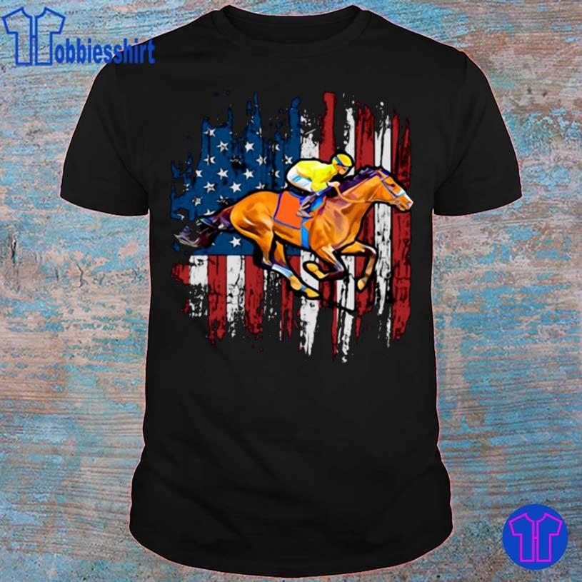 American Flag Horse Racing Shirt