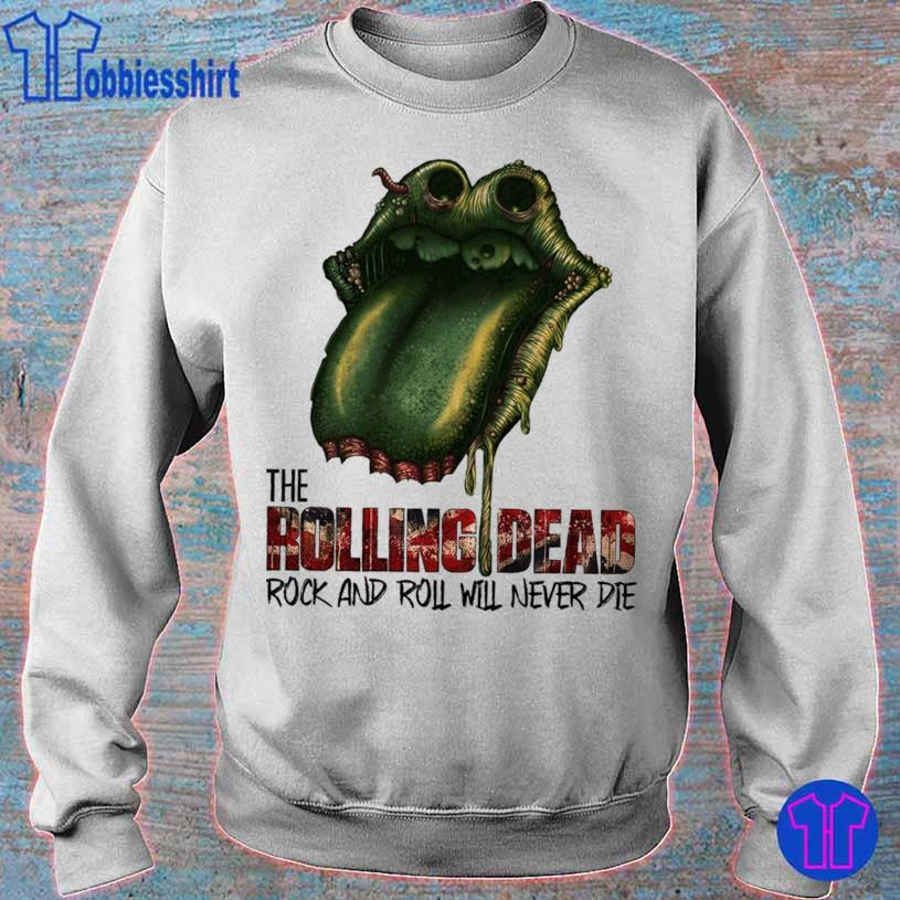 Lips the Rolling Dead rock and roll will never die s sweater