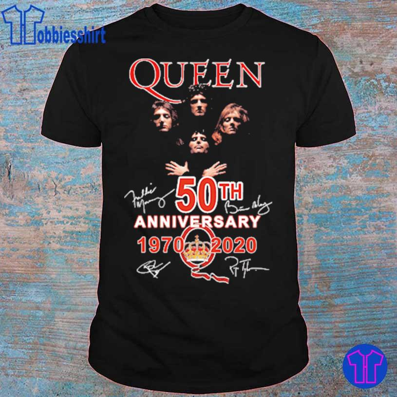 Official Queen 50TH Anniversary 1970 2020 signatures shirt