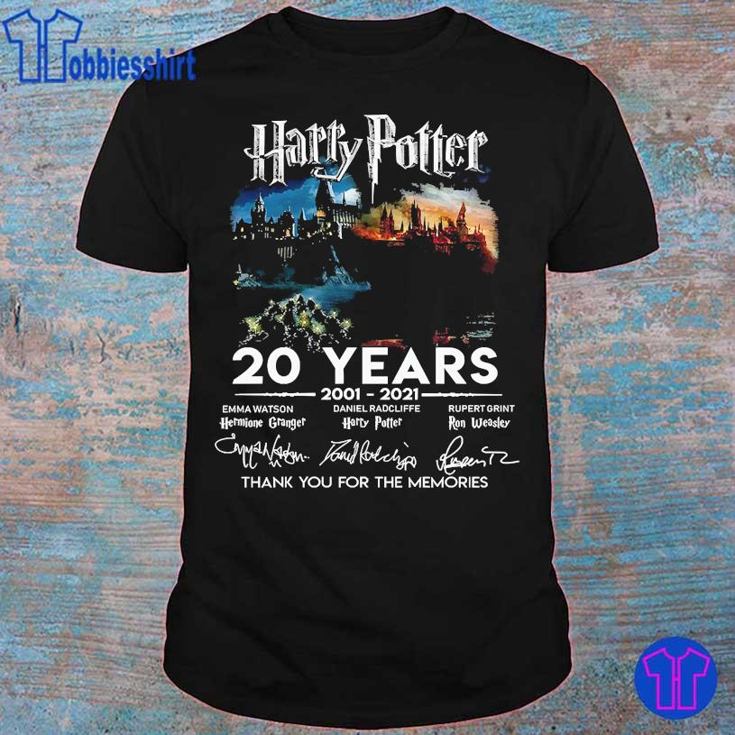 Harry Potter 20 Years 2001 2021 thank You for the memories signatures shirt
