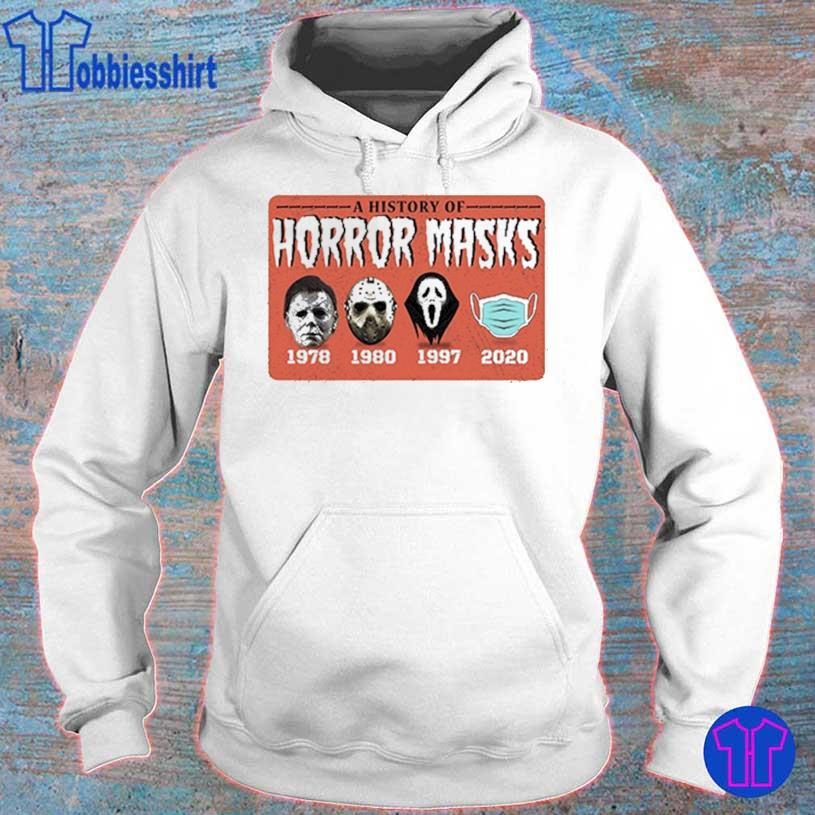 A history of Horror Masks 1978 1980 1997 2020 s hoodie
