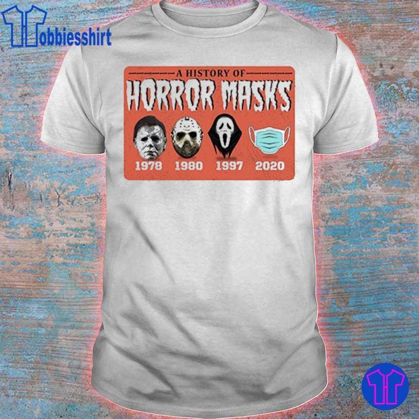 A history of Horror Masks 1978 1980 1997 2020 shirt