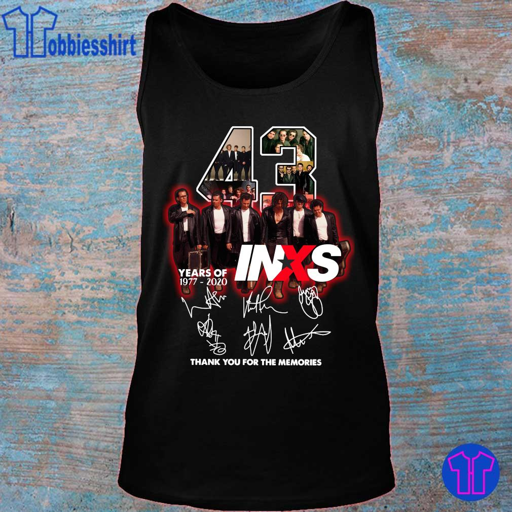 Official 43 years of 1977 2020 INXS thank you for the memories s tank top