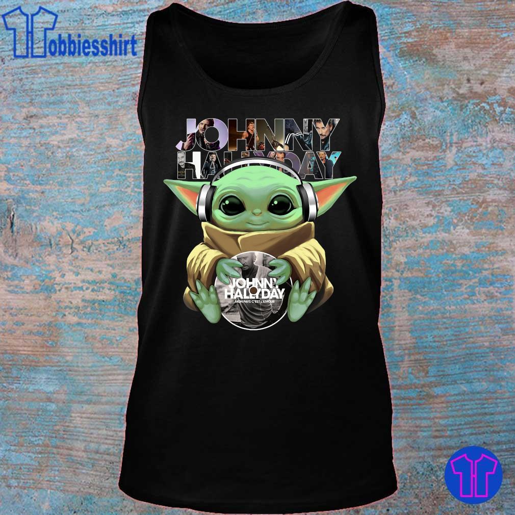 Official Baby Yoda hug Johnny Hallyday s tank top