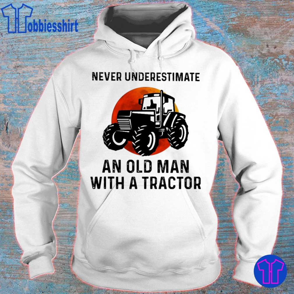 Never underestimate an old man with a tractor sunset s hoodie
