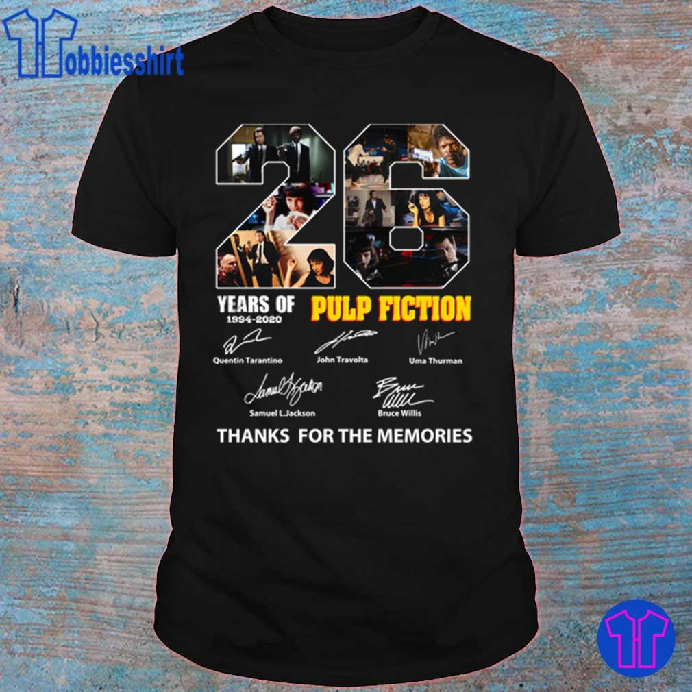 26 Years of 1994 2020 Pulp Fiction thank You the memories signatures shirt