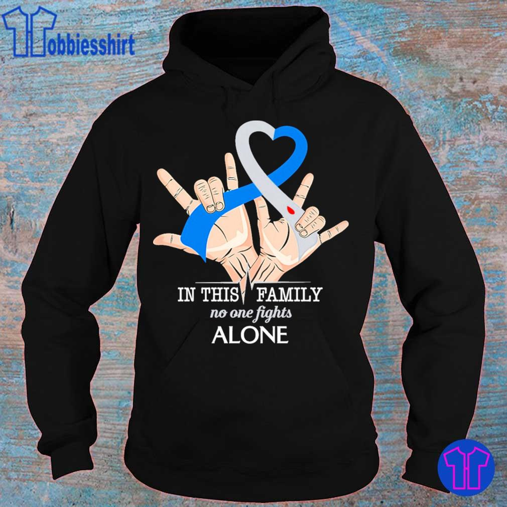 Hand Heart in this Family no one fights alone s hoodie