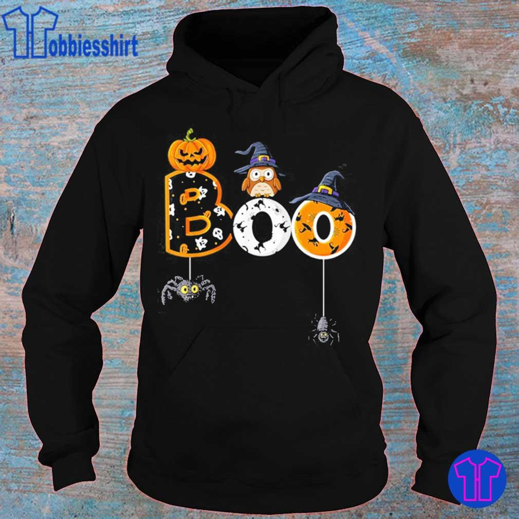 Halloween Boo Owl With Witch Hat Spiders Shirt hoodie
