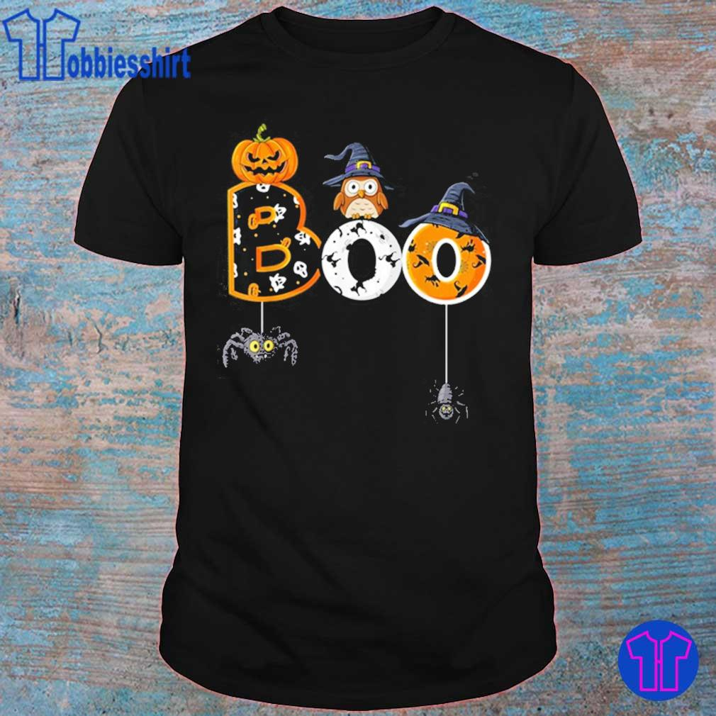 Halloween Boo Owl With Witch Hat Spiders Shirt