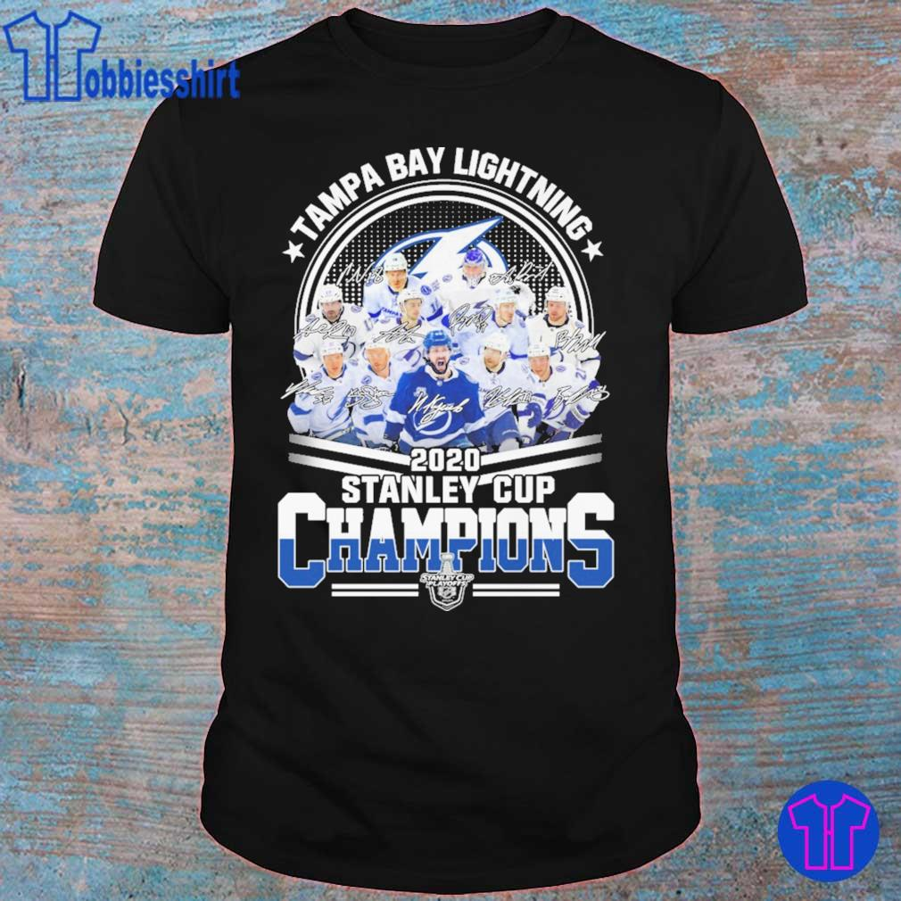 Tampa Bay lightning 2020 stanley cup Champions signatures shirt
