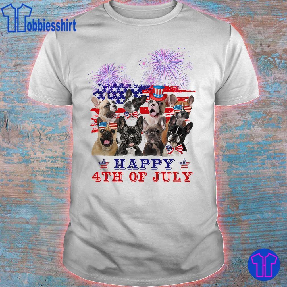 Bulldog happy 4th of July American flag shirt