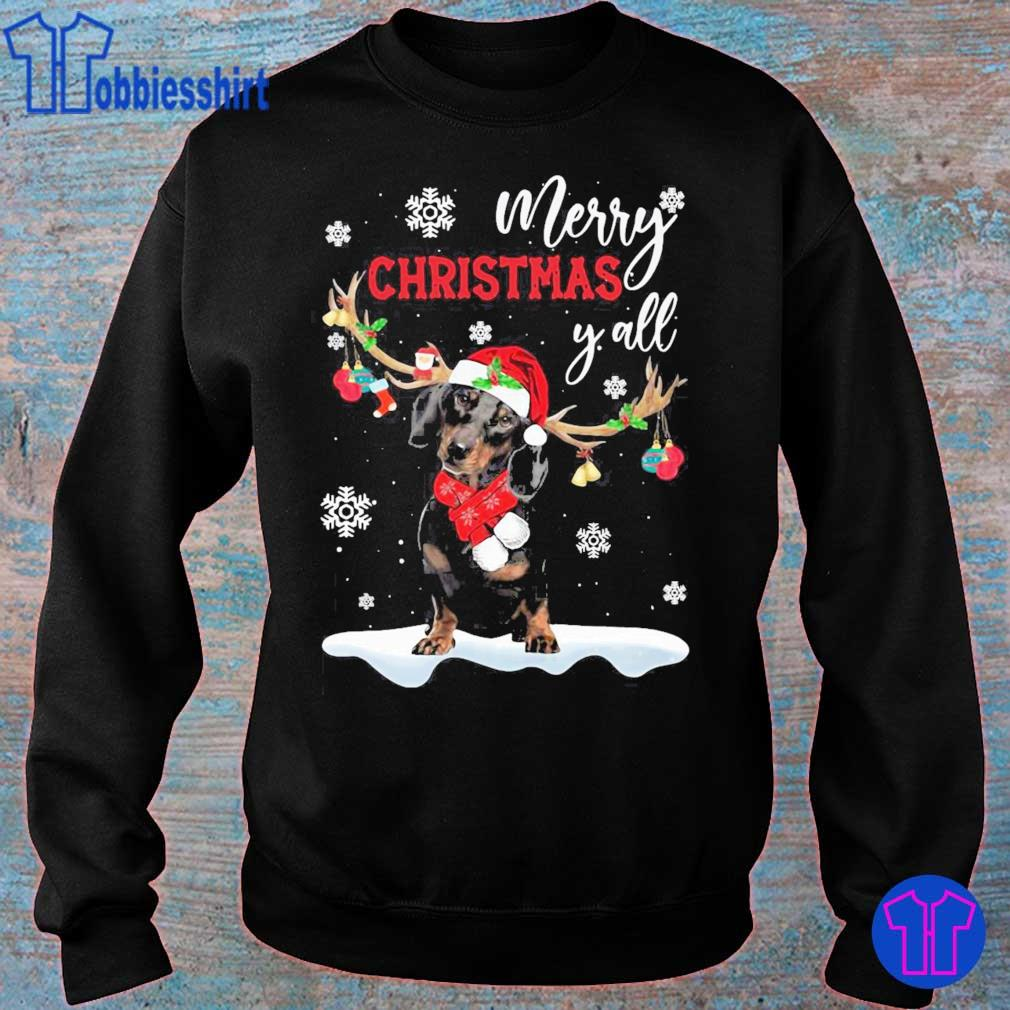 Official Dachshund Santa Reindeer Merry Christmas Y'all Shirt sweater