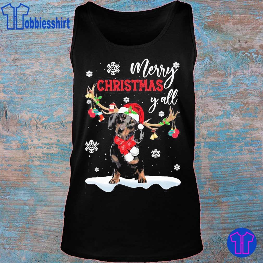Official Dachshund Santa Reindeer Merry Christmas Y'all Shirt tank top